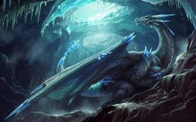 Обои холод, лед, зима, фантастика, дракон, крылья, арт