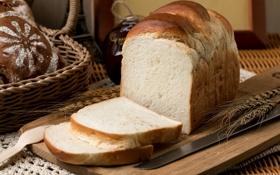 Обои колоски, булочка, хлеб