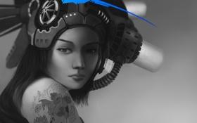 Картинка девушка, синий, рыбка, рыба, тату, арт, татуировка