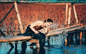 Картинка девушка, мост, река, азиатка
