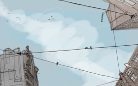 Обои небо, рисунок, птицы, дома, арт, провода, креатив