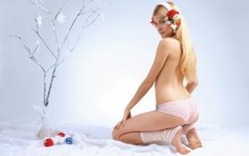 Картинка девушка, шары, игрушки, новый год, блондинка