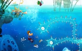 Картинка синий, игра, медузы, щупальцы, Рэйман, водный мир, Rayman Origins