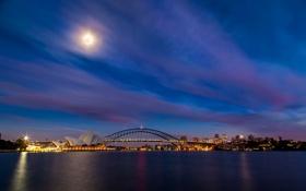 Обои небо, облака, ночь, мост, огни, луна, вечер