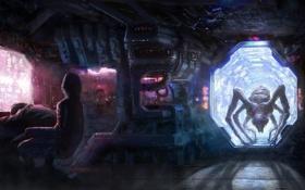 Картинка человек, монстр, кресло, монитор, космический корабль