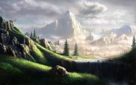 Обои пейзаж, горы, водопад, Fel-X, козёл