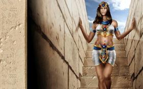 Обои девушка, надписи, символы, арт, лестница, фараон, ступеньки