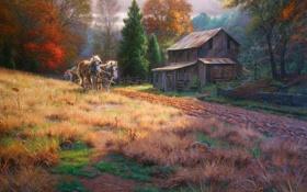 Обои поле, осень, дети, кони, деревня, сарай, живопись