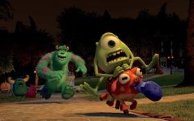 Картинка ночь, парк, мультфильм, монстры, Академия монстров, Monsters University, Inc.