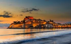 Картинка море, огни, дома, вечер, крепость, Испания, Валенсия
