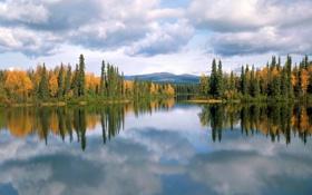 Картинка лес, осень, Yukon, озеро, Canada, Dragon lake, деревья