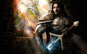 Обои оружие, замок, молнии, меч, воин, арт, витраж