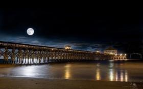 Картинка море, ночь, луна, пристань, пирс