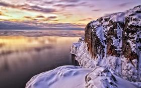 Картинка зима, море, снег, закат, скалы