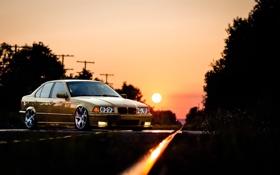 Обои тюнинг, bmw, бмв, Sunset, stance, E36, automotive
