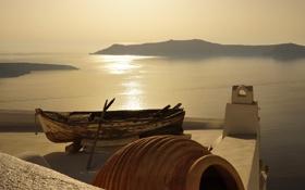 Картинка крыша, море, лодка, вид, Греция, Notio Aigaio, Firostefani