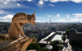 Обои небо, облака, город, Франция, Париж, вид, дома