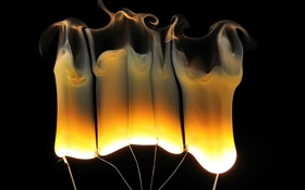 Обои огонь, дым, лампа, спираль