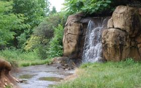 Картинка трава, деревья, камни, водопад