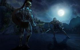 Обои ночь, меч, воин, маска, арт, щит, мужчины