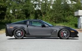 Обои черный, карбон, corvette, диски, z06