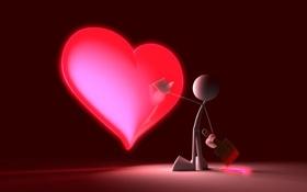 Обои краски, фигурка, серце