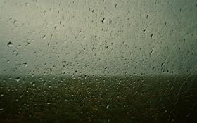 Обои капли, горизонт, небо, фото, настроение, поле, Стекло