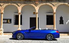 Обои BMW, Здание, Синий, Вид сбоку, Авто, Брусчатка, Машина