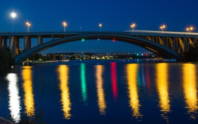 Обои небо, мост, огни, отражение, река, дома