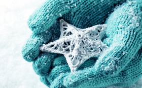 Обои зима, снег, любовь, звезда, руки, love, star