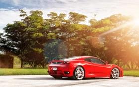Обои свет, деревья, Ferrari F430, supercar, феррари, блик, красная