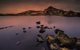 Картинка небо, закат, горы, озеро, камни