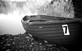 Картинка вода, природа, озеро, берег, лодка, номер, nature