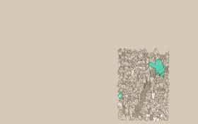 Обои зеленый, люди, минимализм, чувак, болельщики