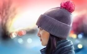 Обои девушка, шапка, шарф, арт, боке