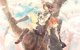 Картинка девушка, дерево, аниме, лепестки, сакура, арт, форма