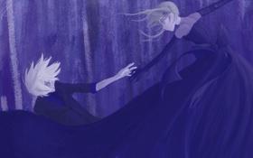 Картинка фиолетовый, Девушка, падение, парень, бант