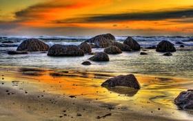 Картинка море, пляж, небо, облака, пейзаж, закат, природа