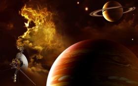 Обои туманность, Юпитер, корабль, Сатурн