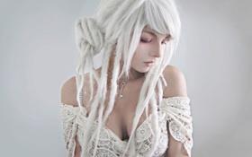 Картинка девушка, волосы, макияж, белые, Make-up