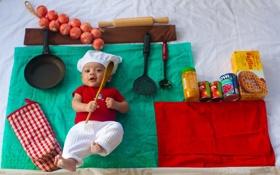Обои настроение, мальчик, малыш, кухня