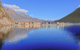Картинка озеро Лугано, Italy, Lombardy, Порлецца, Lake Lugano, Porlezza, горы