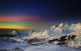 Обои зима, небо, горы, утро