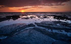 Обои море, вода, закат, камни, лужи