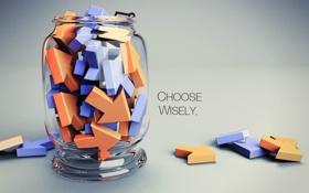 Обои стрелки, банка, фраза, выбирайте с умом, choose wisely