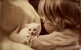 Обои девочка, дом, кошка, настроение, стиль