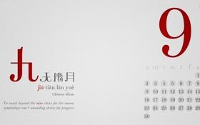 Обои осень, язык, месяц, цифры, иероглифы, 2012, календарь