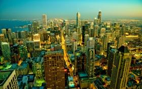 Картинка город, огни, дома, утро, Чикаго, США, Иллиноис