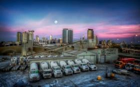 Обои закат, машины, город, завод