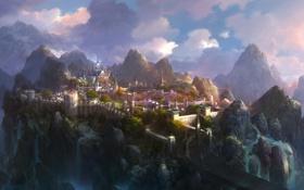 Картинка вода, облака, пейзаж, горы, мост, город, замок